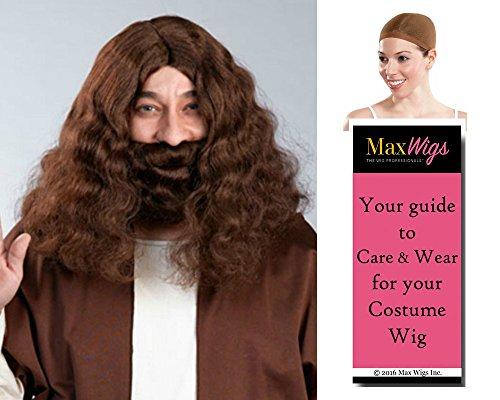 Jesus Biblical color BLONDE - Enigma Wigs Apostle Mustache Beard Set men Long Wavy Bundle with Cap, MaxWigs Costume Wig Care ()