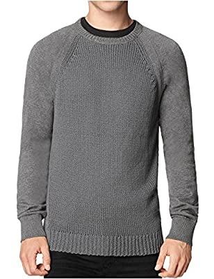 Calvin Klein Jeans Mixed Gauge Crewneck Sweater Dark Grey Heather