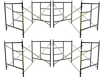 "4 Set Scaffolding 5' X 5'1""X 7' Flip Lock Masonry Stackable Scaffold Frame"