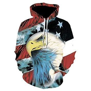 WEIYIGE Jersey De Hombre 3D American Eagle Print Sweater Jersey De Hombre con Capucha - XXL: Amazon.es: Deportes y aire libre