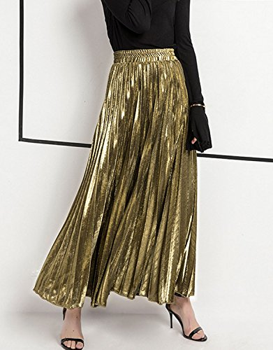 Long L Golden Size Elegant Woman Summer Dress Girl Aisi Skirt Fold 5Rvwxv4