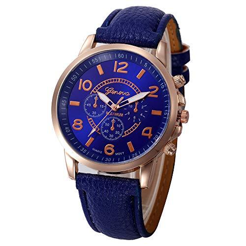 perfectCOCO Wrist Watch Faux Leather Unisex mid-Size Casual Quartz Analog Round Case Watches (Dark Blue)