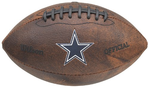 Gulf Coast Sales NFL Dallas Cowboys Color Logo Football, (Leather Dallas Cowboys Football)