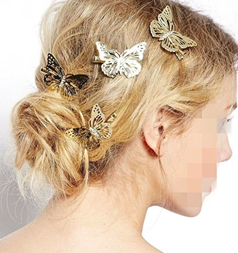 Glazed Antique - BOHO Butterfly clip - Single Hair Clip - Antique - Wedding Bride GIFT bridesmaid gld butterfly clip