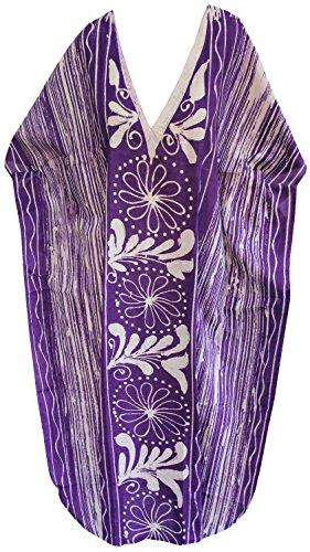 usura caftano Viola LEELA notte cotone u910 donne evevning beachwear lungo da mano LA batik vestito bagno costumi qBw7BZS