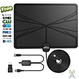 [2018 Newest] HD Digital TV Antenna, 60+ Miles Amplified Indoor TV Antenna – Support 4K 1080p with Amplifier Signal Booster & Power Adapter Black