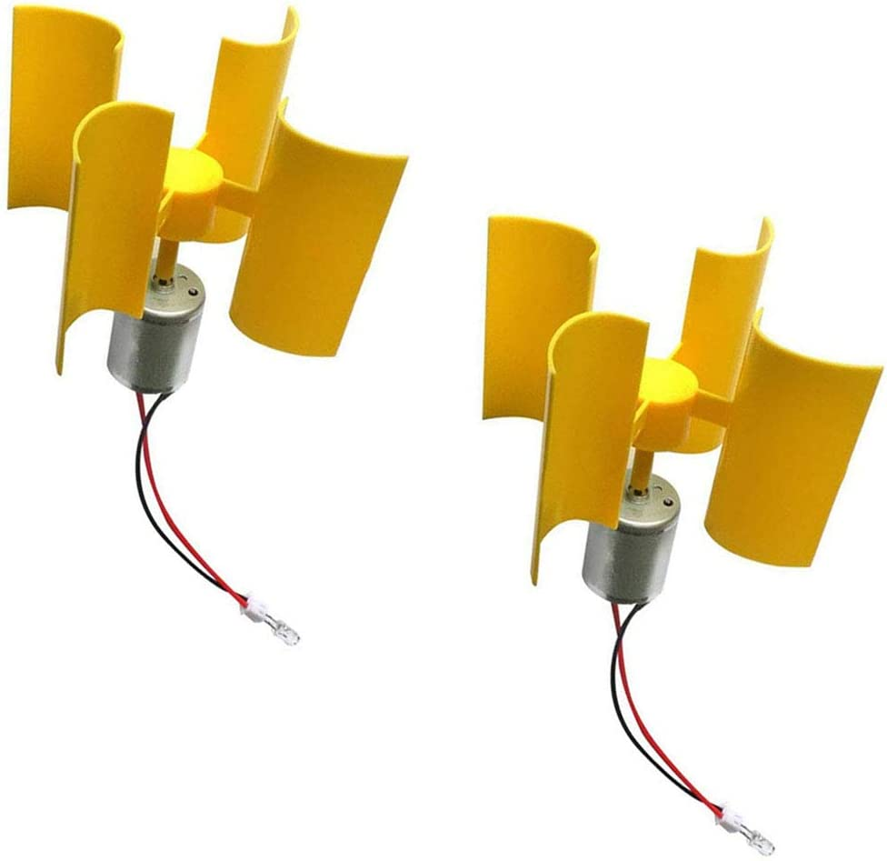 Keproving 2pcs Mini Vertical Wind Turbine Generator Model for Teaching Physical Power Generation Principle and DIY Science Education Experiment