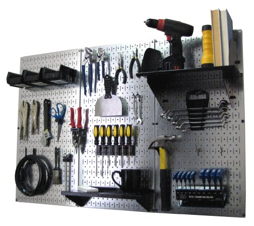 Wall Control Pegboard Organizer 4 ft. Metal Pegboard Standard Tool Storage Kit with Galvanized Toolboard and Black Accessories