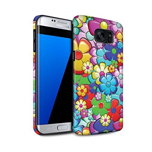 STUFF4 Matte Tough Shock Proof Phone Case for Samsung Galaxy S7 Edge/G935/Vibrant Flower Power Design/Hippie Hipster Art Collection