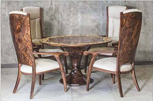 Luxury Handcrafted Dining Room Set Chestnut by Emelyanov. Made of Royal Walnut, Walnut Root, Inlay Natural Baltic Amber Up to 4mln. Years Old