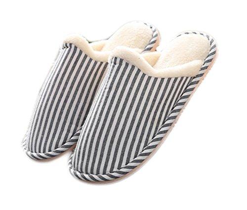 Auspicious beginning Unisex Winter Stripe Design Indoor Slippers Anti Skid Bedroom Warm Fleece Flat Shoes Blue
