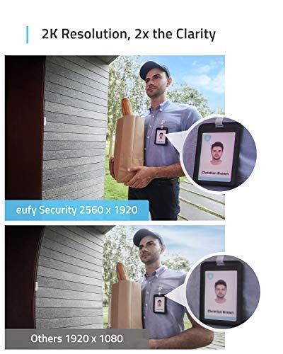 Eufy Security Wi-Fi Video Doorbell, 2K Resolution, Real-Time Response, No Monthly Fees, Secure Local Storage, Ready for Any Weather, Free Wireless Electronic Chime, Requires Existing Doorbell Wires