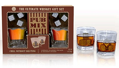Modern Gourmet Foods 6 Granite Whiskey Chill Stones and Gourmet Gift Set, Two 6 (Whiskey Glasses And Stones)