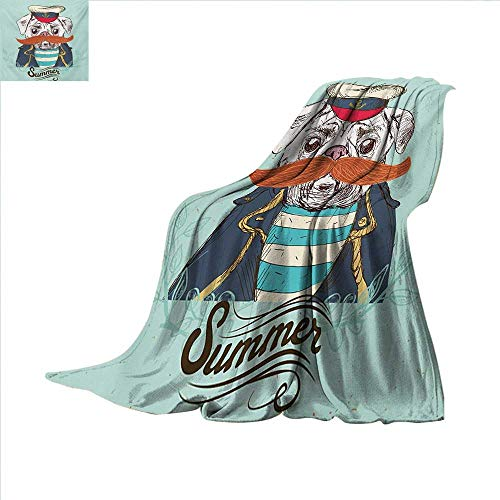 Pug, Weave Pattern Extra Long Blanket, Captain Dog with Hat Mustache Jacket and Shirt Cute Animal Funny Image, Custom Design Cozy Flannel Blanket, W90 x L110 Inch, Navy Blue Pale Blue Orange