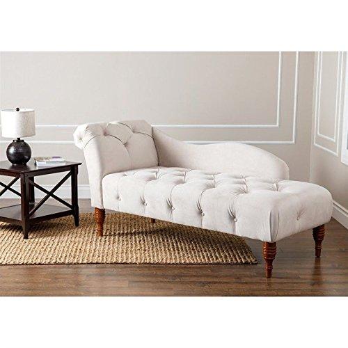 Abbyson Living Charlotte Tufted Velvet Chaise Lounge in Ivory