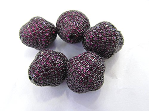 6pcs Ruby Red Micro Pave Diamond 24K GoldRhodium Football Olive spacer beads, Bicone Pave Bead Pave CZ Cubic Zirconia Finding ()