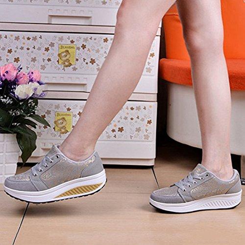 Mujer de Malla Gris Freahap Zapato de de Mujer de Deportivos Zapatos Plataforma Ocio Zapatos Superficie de para wwaFZxE4