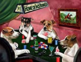 Home of Jack Russell 4 Dogs Playing Poker Art Portrait Print Woven Throw Sherpa Plush Fleece Blanket (37x57 Sherpa)