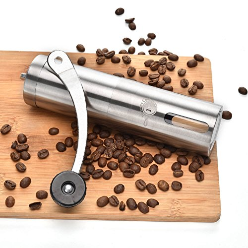 SAVE LIVES With Our Brushed Stainless Steel Manual Coffee Grinder by Integrity Chef – Premium Ceramic Burr Mill, Professional Precision Brewing, Ergonomic Design, Great Gift