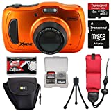 Coleman Xtreme4 C30WPZ Waterproof HD Digital Camera (Orange) with 16GB Card + Case + Tripod + Floating Strap + Kit