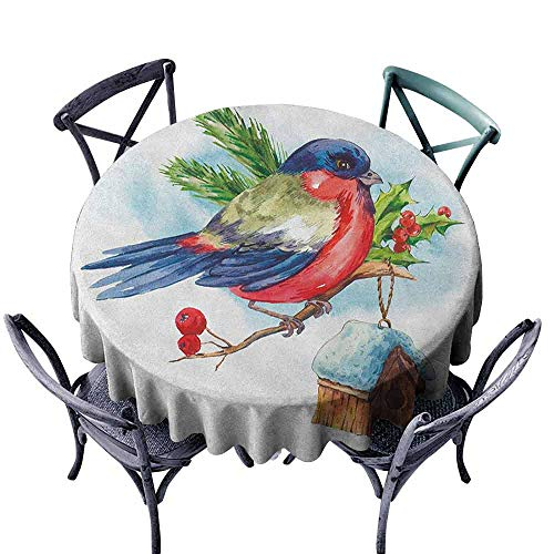 (ScottDecor Wedding Round Tablecloth Picnic Cloth Rowan,Merry Christmas Composition with Cute Bullfinch Holly Pine Cone Bird House in Winter, Multicolor Diameter 54