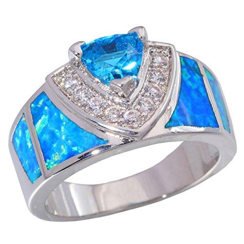 CiNily Blue Fire Opal Aquamarine Silver Filled Zircon Women Jewelry Gemstone Ring Size 5-12 (11) Aquamarine Gemstone Jewelry