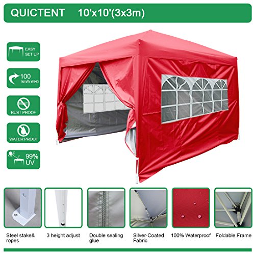 Quictent-Silvo-Waterproof-10×10-EZ-Pop-Up-Canopy-Commercial-Gazebo-Party-Tent-Red-Portable-Style-Removable-sides-and-Heavy-Duty-Bag
