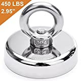 #1: DIYMAG Super Strong Neodymium Fishing Magnets, 450 lbs(204 KG) Pulling Force Rare Earth Magnet with Countersunk Hole Eyebolt Diameter 2.95 inch(75 mm) for Retrieving in River and Magnetic Fishing