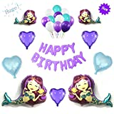 Mermaid Birthday Balloons Party Supplies Or Baby Shower Set with Happy Birthday Banner Balloons 24PCS