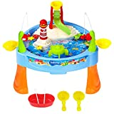 Mini Fishing Game Set 11.81 x 6.7 Inch, Zooawa Electric Magnetic Rod and Reel Toy Water Playing Fun Paradise [25 Pcs] with Music and Light for Kids and Toddlers, Colorful
