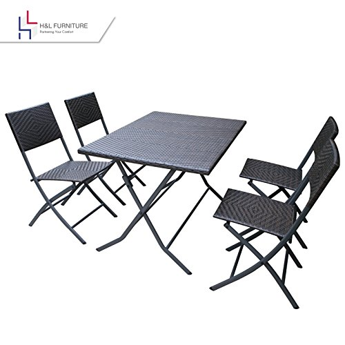 HL Patio Resin Rattan Steel Folding Bistro Set, Parma Style, All Weather Resistant Resin Wicker, 5 PCS/3PCS Set of Foldable Table and Chairs, Color Espresso Brown, 3-Year Warranty, No Assembly Needed (Wicker Dining Piece Outdoor 5 Set)