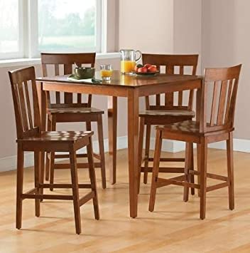 mainstays 5 piece counter height dining set warm cherry finish - Height Of Dining Room Table