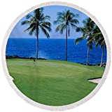 Pixels Round Beach Towel With Tassels featuring ''Golf Course At The Oceanside, Kona'' by Pixels