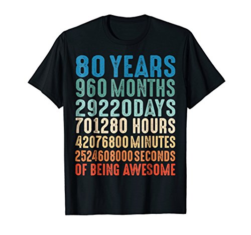 80 Years Old 80th Birthday Vintage Retro T Shirt 960 Months