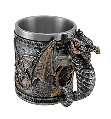 Steampunk Geared Dragon Stainless Steel Lined Silvered Tankard