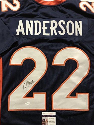 Autographed/Signed CJ C.J. Anderson Denver Blue Football Jersey JSA COA