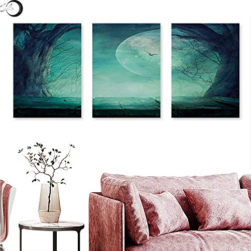 Anniutwo Halloween Wall hangings Spooky Teal Forest Moon