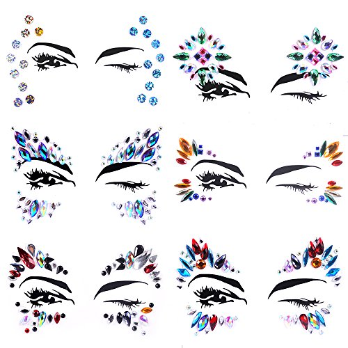 Lady Up 6 PCS Face Jewels Tattoo Set Mermaid Gem Rhinestones Eyes Body Stickers Bindi Crystals Glitter for Rave Party Festival -