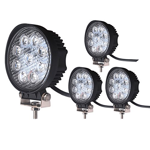 LED Light Bar LEDKINGDOMUS 4 Pack 27W 4 inches LED Light Pod Flood Round Work Light Off Road Light LED Fog Light Truck Light Driving Light Boat Light Compatible for Jeep, Truck, Pickup, SUV, ATV, UTV