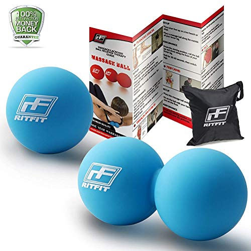 RitFit Massage Ball Set (1 Peanut Massage Ball &1 Lacrosse Ball) for Myofascial Release, Trigger Point Therapy, Muscle Knots, and Yoga Therapy, Bonus Free Carry Bag and Workout Guide ()