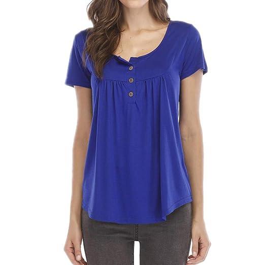 86948393d98 Amazon.com  Amlaiworld Women Plus Size Tops Solid Row Pleats Button Ruched  O-Neck Short Sleeve Irregular T-Shirt Tops Summer Tunic Shirt  Clothing