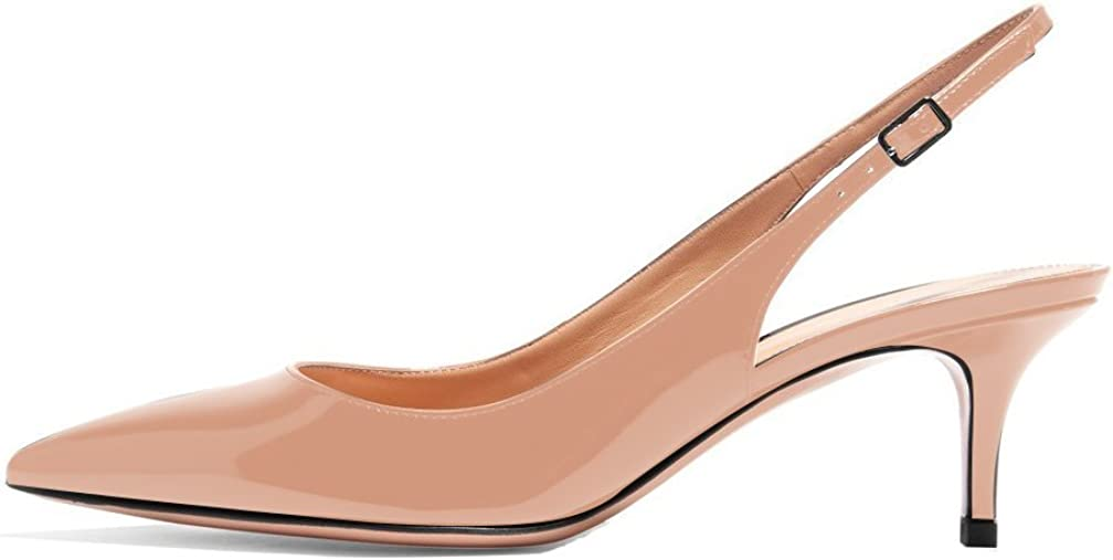 Sammitop Women's Pointed Toe Slingback Shoes Kitten Heel Pumps Comfortable Dress Shoes