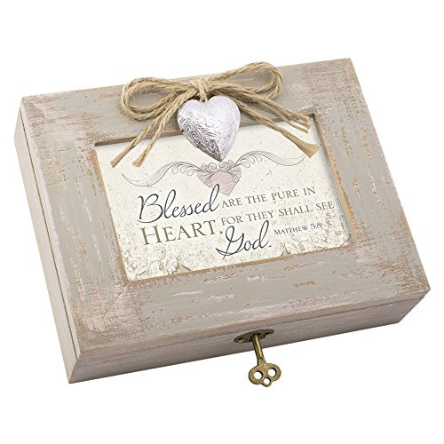 Cottage Garden Blessed Pure in Heart Natural Taupe Jewelry Music Box Plays Friend in Jesus