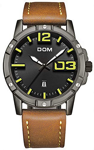 Mens Watch Military Sports Analogue Quartz Wrist Watches with Date Calendar Luminous Hands Leather Band for Man