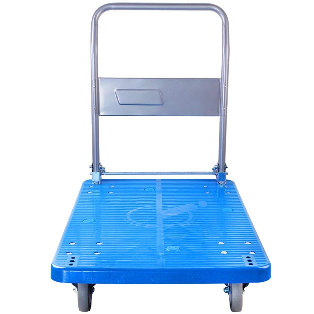 Zehaer Portable Trolley, Carrying Tool Car Blue Body Gray Handlebars Hand Truck Flatbed Truck Trolley Lorry Lever Car Load 150 to 300 Kg (Color : 47 73 82CM) (Color : 477382cm)
