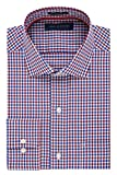 Tommy Hilfiger Men's Non Iron Regular Fit Check Spread Collar Dress Shirt, Rouge, 17.5' Neck 34'-35' Sleeve