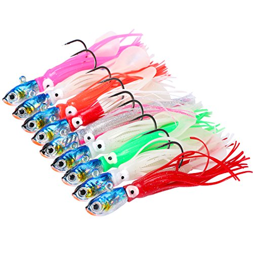 Sea Trolling Deep - Goture Soft Fishing Lure Squid Leadhead Jigs Sinking Swimbaits Luminous Artificial Bait Deep Sea Trolling Lure with Paddle Tail 1.64 oz (Pack of 9)