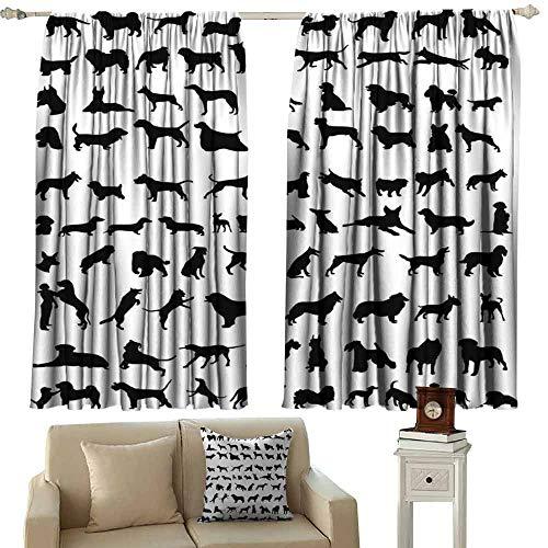 (Printed Curtain Dog Lover Decor Silhouettes Breeds of Dogs Chow Chow Bulldog Shepherd Pinscher Spaniel St Bernard Tie Up Window Drapes Living Room W63 xL63)