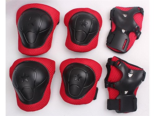 Wetietir Skating 6 Pcs/Set Kid's Protective Gear Set Elbow Knee Handguard Roller Skating Skateboard BMX Scooter Cycling (Black Red M) Protection by Wetietir