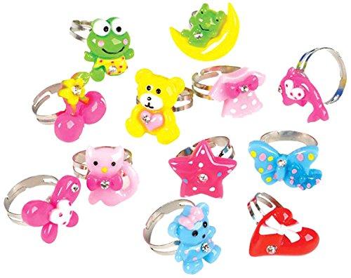 Rhode Island Novelty 18 Piece Kids Rhinestone Cutie Ring, Assorted